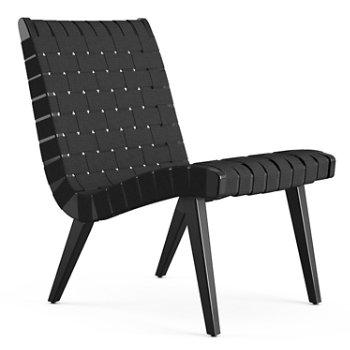 Shown in Black Cotton Webbing fabric with Ebonized Maple frame finish