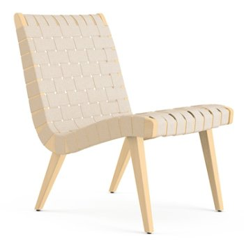 Shown in Flax Cotton Webbing fabric with Maple frame finish