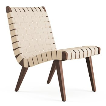 Shown in Flax Cotton Webbing fabric with Light Walnut frame finish