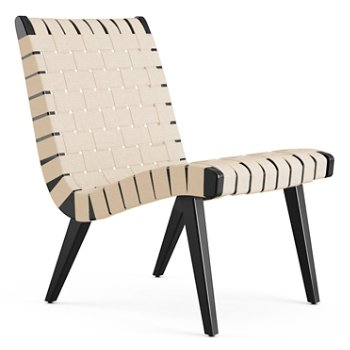Shown in Flax Cotton Webbing fabric with Ebonized Maple frame finish