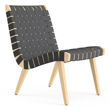 Shown in Dark Grey Cotton Webbing fabric with Maple frame finish