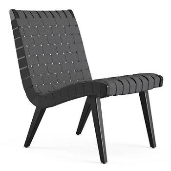 Shown in Dark Grey Cotton Webbing fabric with Ebonized Maple frame finish
