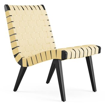 Shown in Maize Cotton Webbing fabric with Ebonized Maple frame finish