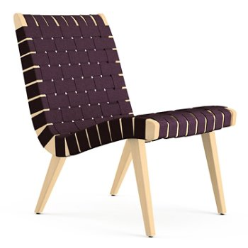 Shown in Aubergine Cotton Webbing fabric with Maple frame finish