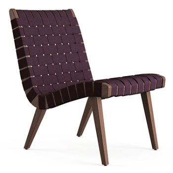Shown in Aubergine Cotton Webbing fabric with Light Walnut frame finish