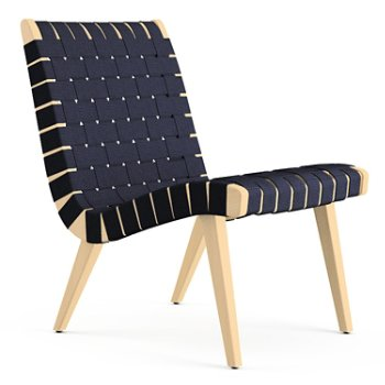 Shown in Navy Cotton Webbing fabric with Maple frame finish