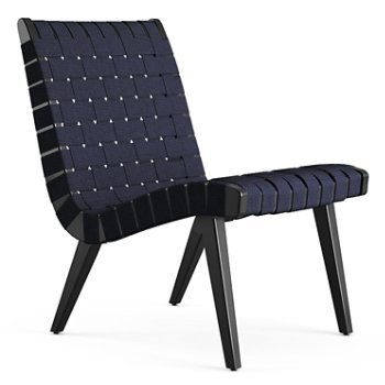 Shown in Navy Cotton Webbing fabric with Ebonized Maple frame finish