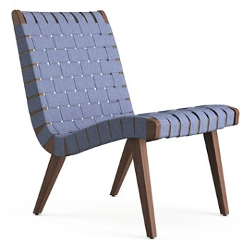 Shown in Steel Blue Cotton Webbing fabric with Light Walnut frame finish