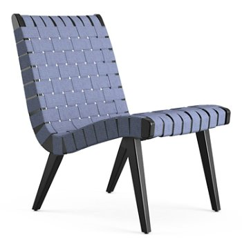 Shown in Steel Blue Cotton Webbing fabric with Ebonized Maple frame finish