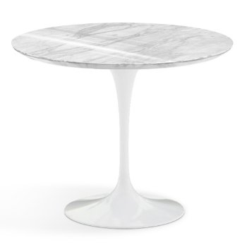 Shown in Carrara White-Grey Polished Coated Marble Top with White Base, 36 Inch