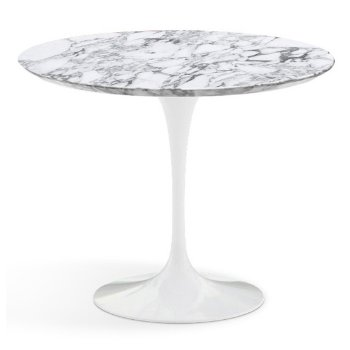 Shown in Arabescato White-Grey Satin Coated Marble Top with White Base, 36 Inch