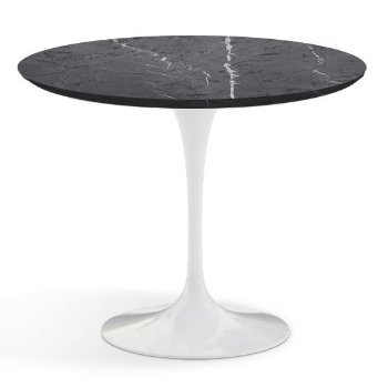 Shown in Grigio Marquina Satin Coated Marble Top with White Base, 36 Inch