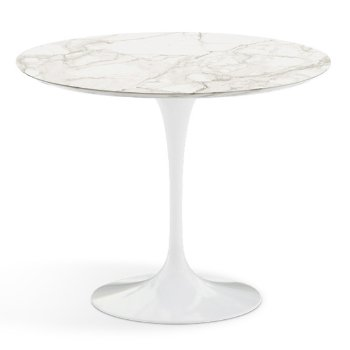 Shown in Calacatta White-Grey Beige Satin Coated Marble Top finish with White Base, 36 Inch