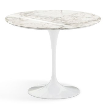 Shown in Calacatta White-Grey Beige Shiny Coated Marble Top finish with White Base, 36 Inch