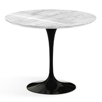 Shown in Carrara White-Grey Polished Coated Marble Top finish with Black Base, 36 Inch