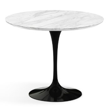 Shown in Carrara White-Grey Satin Coated Marble Top finish with Black Base, 36 Inch