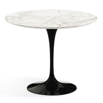 Shown in Calacatta White-Grey Beige Satin Coated Marble Top finish with Black Base, 36 Inch