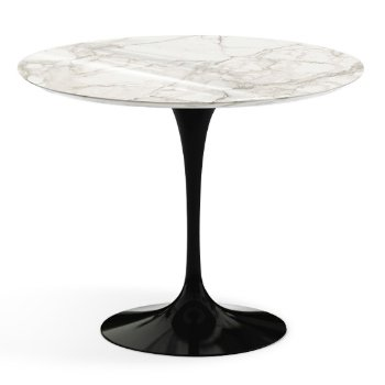 Shown in Calacatta White-Grey Beige Shiny Coated Marble Top finish with Black Base, 36 Inch