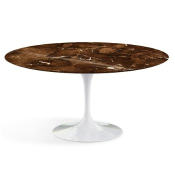 Shown in Espresso Brown Shiny Coated Marble Top with Black Base, 60 Inch