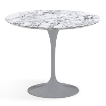 Shown in Arabescato White-Grey Satin Coated Marble finish with Platinum Base, 36 Inch