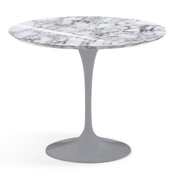 Shown in Arabescato White-Grey Shiny Coated Marble finish with Platinum Base, 36 Inch