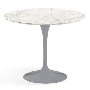 Shown in Calacatta White-Grey Beige Satin Coated Marble finish with Platinum Base, 36 Inch