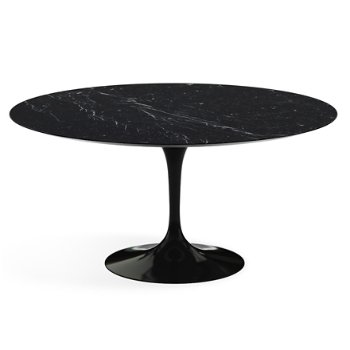 Shown in  Nero Marquina Black Shiny Coated Marble Top with Black Base, 60 Inch
