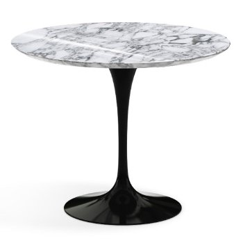 Shown in Arabescato White-Grey Shiny Coated Marble Top with Black Base, 36 Inch