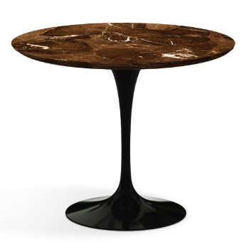 Shown in Espresso Brown Satin Coated Marble Top wih Black Base, 36 Inch