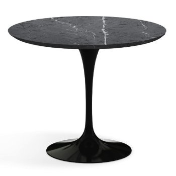 Shown in Grigio Marquina Satin Coated Marble Top with Black Base, 36 Inch