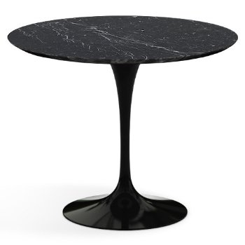 Shown in Nero Marquina Black Shiny Coated Marble Top with Black Base, 36 Inch