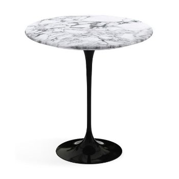Shown in Arabescato White Grey Satin Coated Marble top, Black base finish, 20-Inch