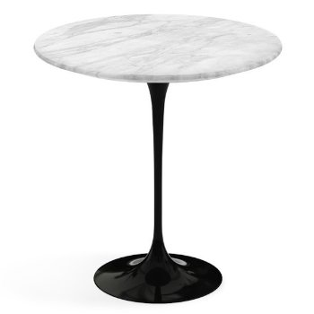 Shown in Carrara White Grey Satin Coated Marble top, Black base finish, 20-Inch