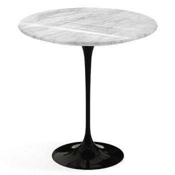 Shown in Carrara White Grey Natural Marble top, Black base finish, 20-Inch