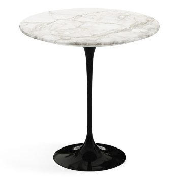 Shown in Calacatta White Grey Beige Satin Coated Marble top, Black base finish, 20-Inch