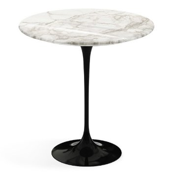 Shown in Calacatta White Grey Beige Shiny Coated Marble top, Black base finish, 20-Inch