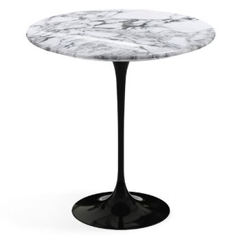 Shown in Arabescato White Grey Shiny Coated Marble top, Black base finish, 20-Inch