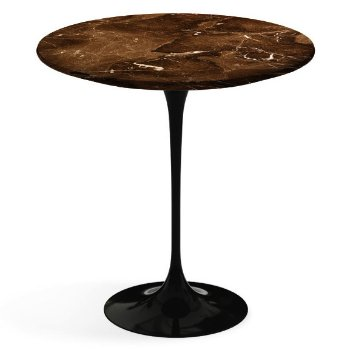 Shown in Espresso Brown Satin Coated Marble top, Black base finish, 20-Inch