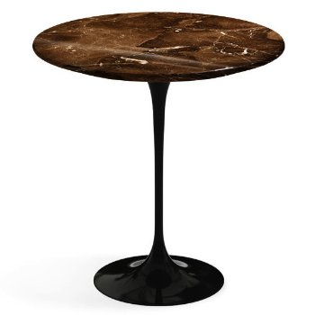 Shown in Espresso Brown Shiny Coated Marble top, Black base finish, 20-Inch