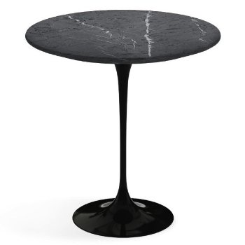 Shown in Grigio Marquina Satin Coated Marble top, Black base finish, 20-Inch