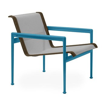 Shown in Aluminum Fabric, Blue Frame, Bronze Trim