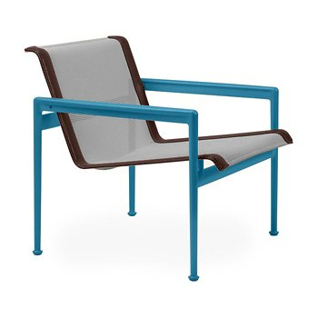Shown in Aluminum Fabric, Blue Frame, Brown Trim