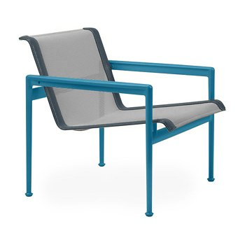 Shown in Aluminum Fabric, Blue Frame, Grey Trim