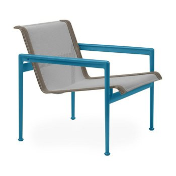 Shown in Aluminum Fabric, Blue Frame, Sand Trim