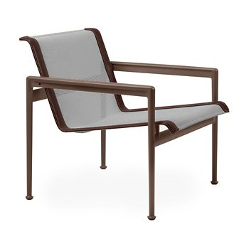 Shown in Aluminum Fabric, Chestnut Frame, Brown Trim