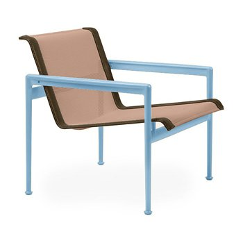 Shown in Chestnut Fabric, Sky Blue Frame, Bronze Trim