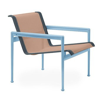 Shown in Chestnut Fabric, Sky Blue Frame, Grey Trim