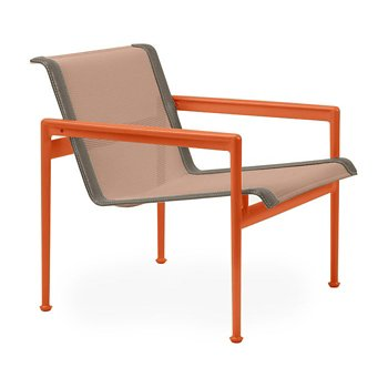 Shown in Chestnut Fabric, Orange Frame, Sand Trim