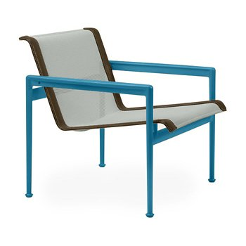 Shown in Grey Tone Fabric, Blue Frame, Bronze Trim