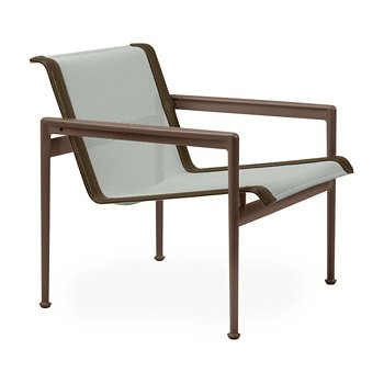 Shown in Grey Tone Fabric, Chestnut Frame, Bronze Trim